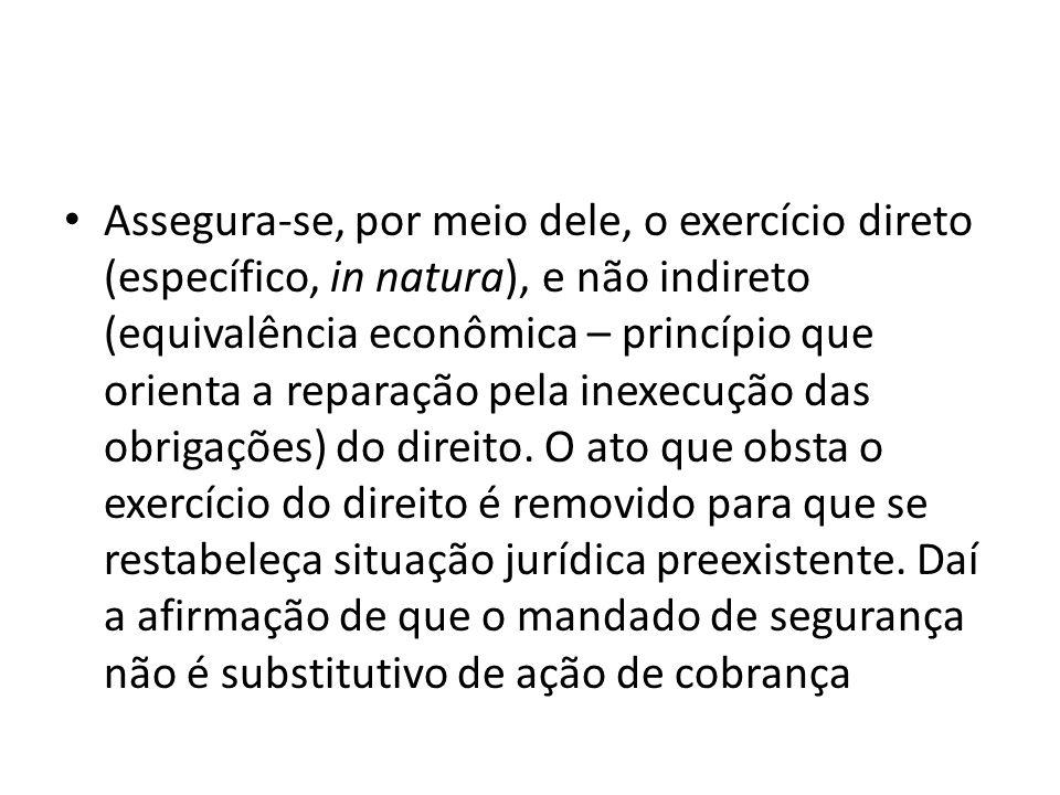 Assegura-se, por meio dele, o exercício direto (específico, in natura), e não indireto (equivalência econômica – princípio que orienta a reparação pel