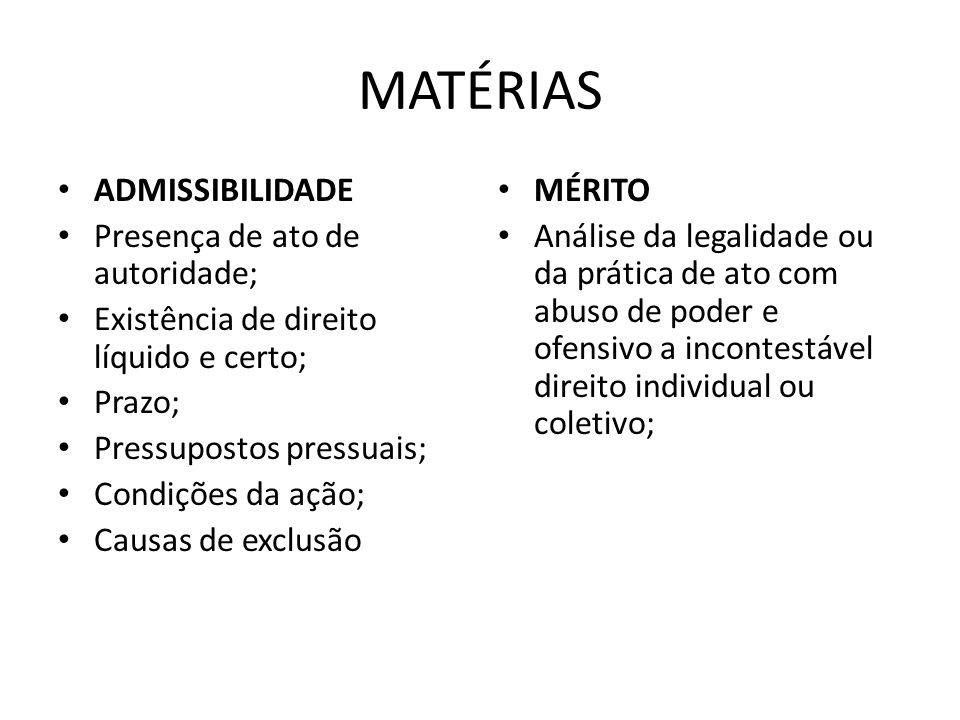 MATÉRIAS ADMISSIBILIDADE Presença de ato de autoridade; Existência de direito líquido e certo; Prazo; Pressupostos pressuais; Condições da ação; Causa