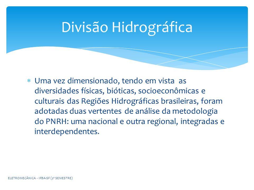 Uma vez dimensionado, tendo em vista as diversidades físicas, bióticas, socioeconômicas e culturais das Regiões Hidrográficas brasileiras, foram adota