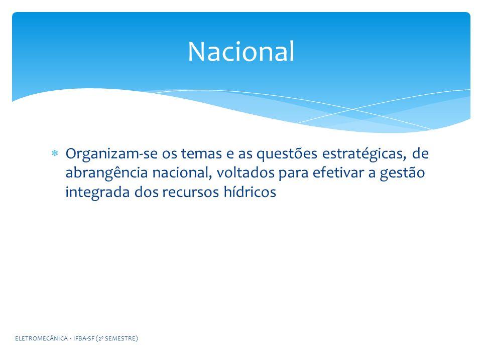 Organizam-se os temas e as questões estratégicas, de abrangência nacional, voltados para efetivar a gestão integrada dos recursos hídricos Nacional EL