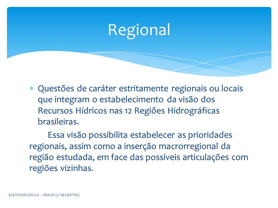 Questões de caráter estritamente regionais ou locais que integram o estabelecimento da visão dos Recursos Hídricos nas 12 Regiões Hidrográficas brasil