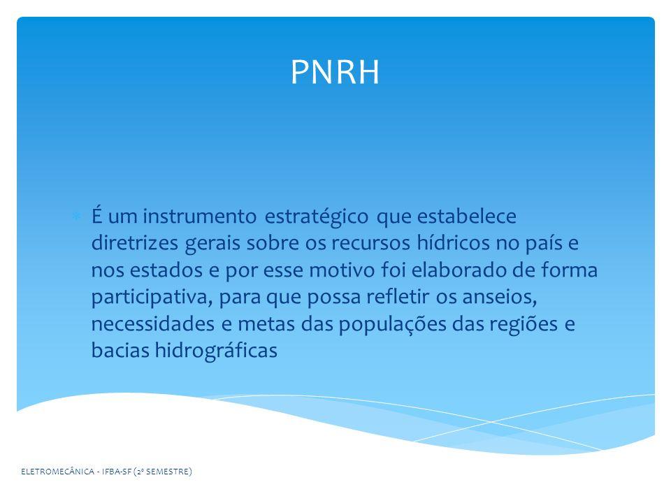 PNRH É um instrumento estratégico que estabelece diretrizes gerais sobre os recursos hídricos no país e nos estados e por esse motivo foi elaborado de