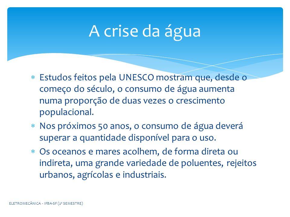 A crise da água Estudos feitos pela UNESCO mostram que, desde o começo do século, o consumo de água aumenta numa proporção de duas vezes o crescimento