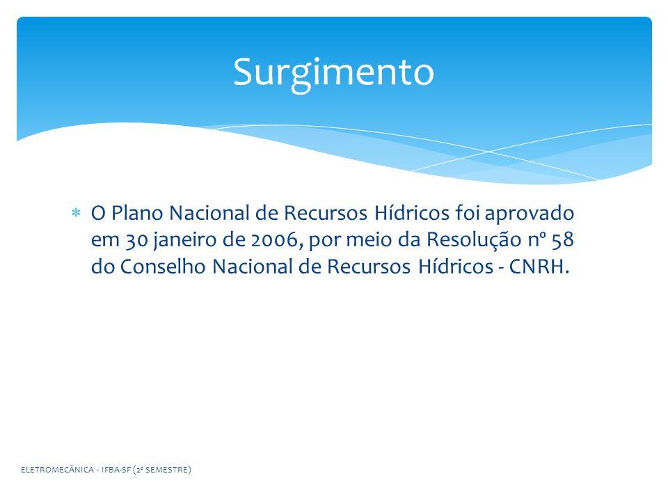 O Plano Nacional de Recursos Hídricos foi aprovado em 30 janeiro de 2006, por meio da Resolução nº 58 do Conselho Nacional de Recursos Hídricos - CNRH