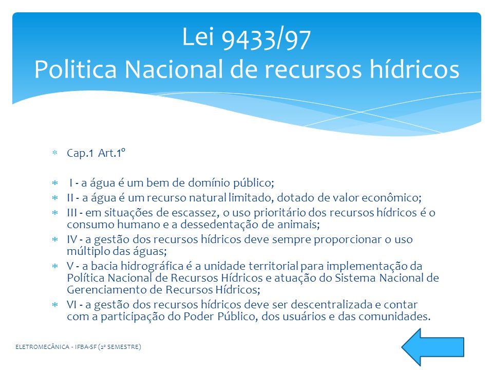 Cap. 1 Art. 1º I - a água é um bem de domínio público; II - a água é um recurso natural limitado, dotado de valor econômico; III - em situações de esc