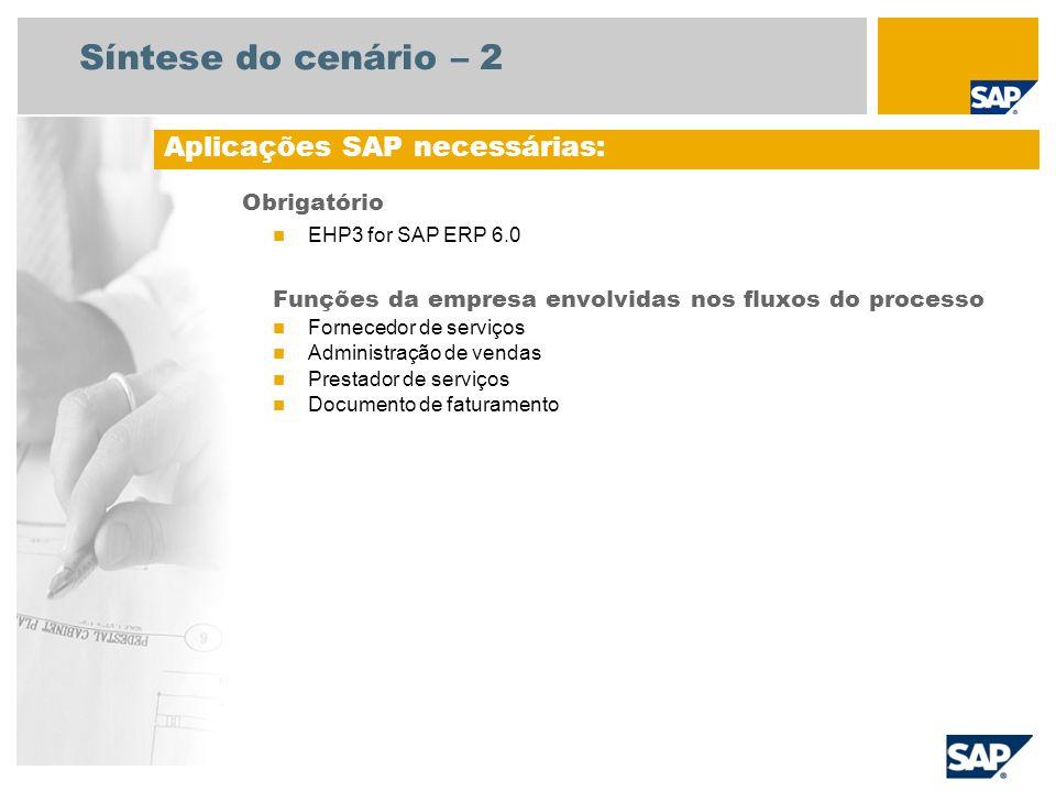 Síntese do cenário – 2 Obrigatório EHP3 for SAP ERP 6.0 Funções da empresa envolvidas nos fluxos do processo Fornecedor de serviços Administração de vendas Prestador de serviços Documento de faturamento Aplicações SAP necessárias: