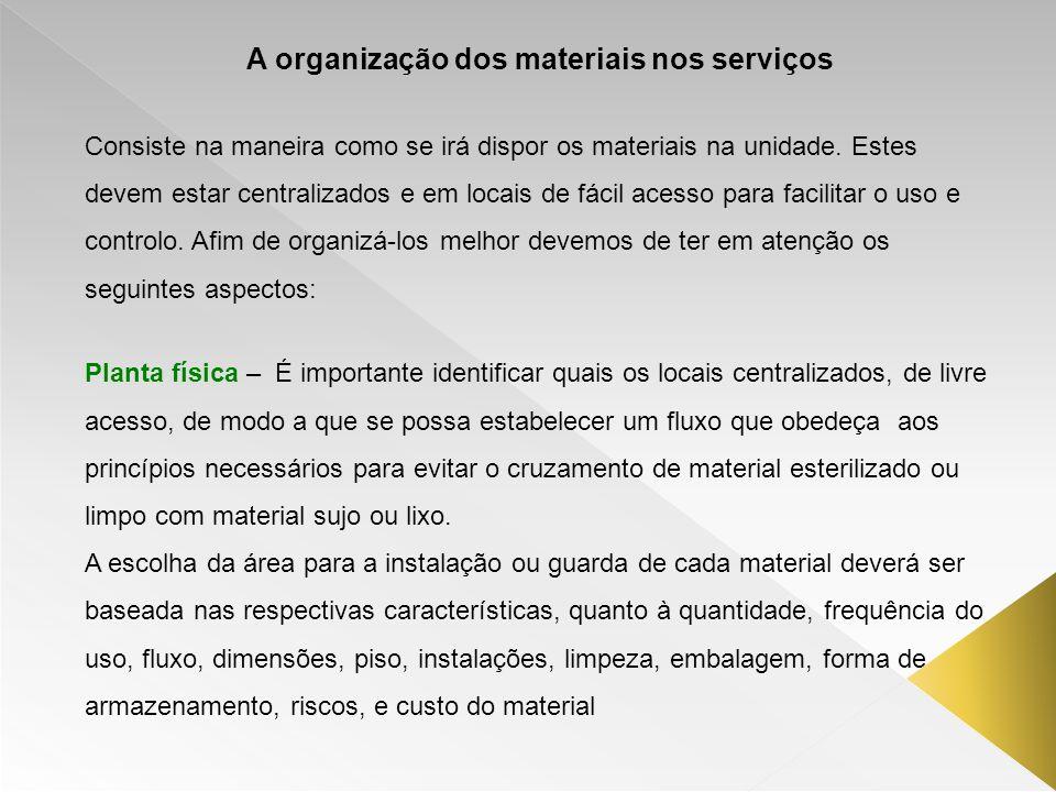 A organização dos materiais nos serviços Consiste na maneira como se irá dispor os materiais na unidade. Estes devem estar centralizados e em locais d