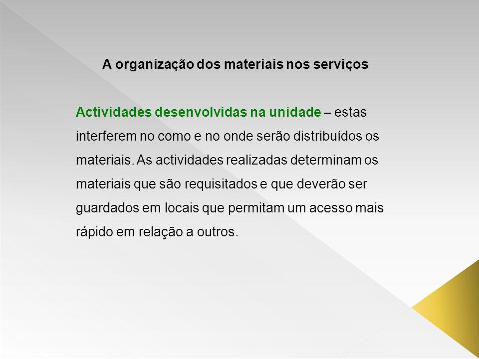 A organização dos materiais nos serviços Actividades desenvolvidas na unidade – estas interferem no como e no onde serão distribuídos os materiais. As