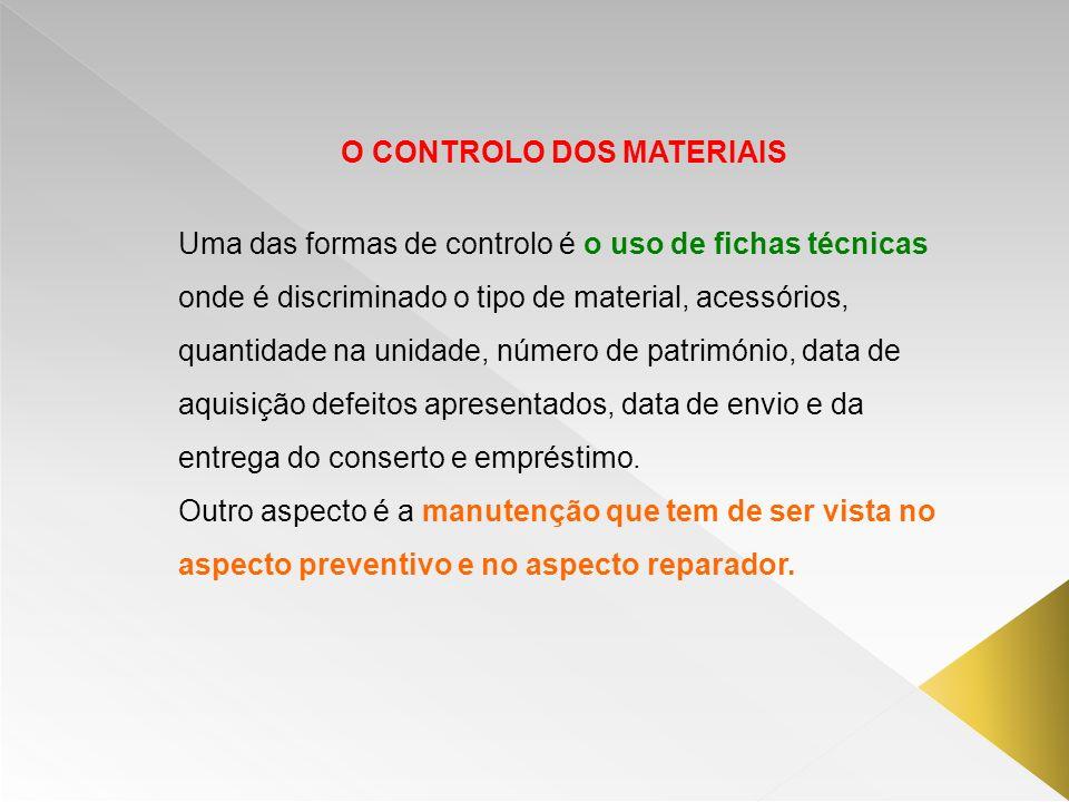 O CONTROLO DOS MATERIAIS Uma das formas de controlo é o uso de fichas técnicas onde é discriminado o tipo de material, acessórios, quantidade na unida