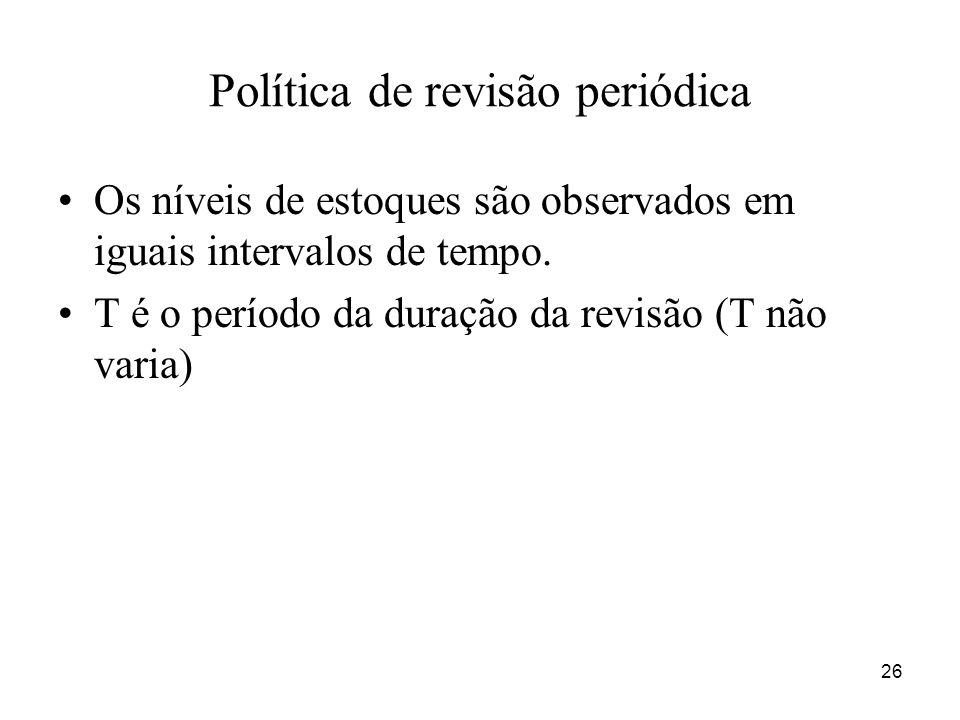 26 Política de revisão periódica Os níveis de estoques são observados em iguais intervalos de tempo. T é o período da duração da revisão (T não varia)