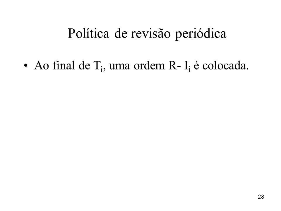 28 Política de revisão periódica Ao final de T i, uma ordem R- I i é colocada.