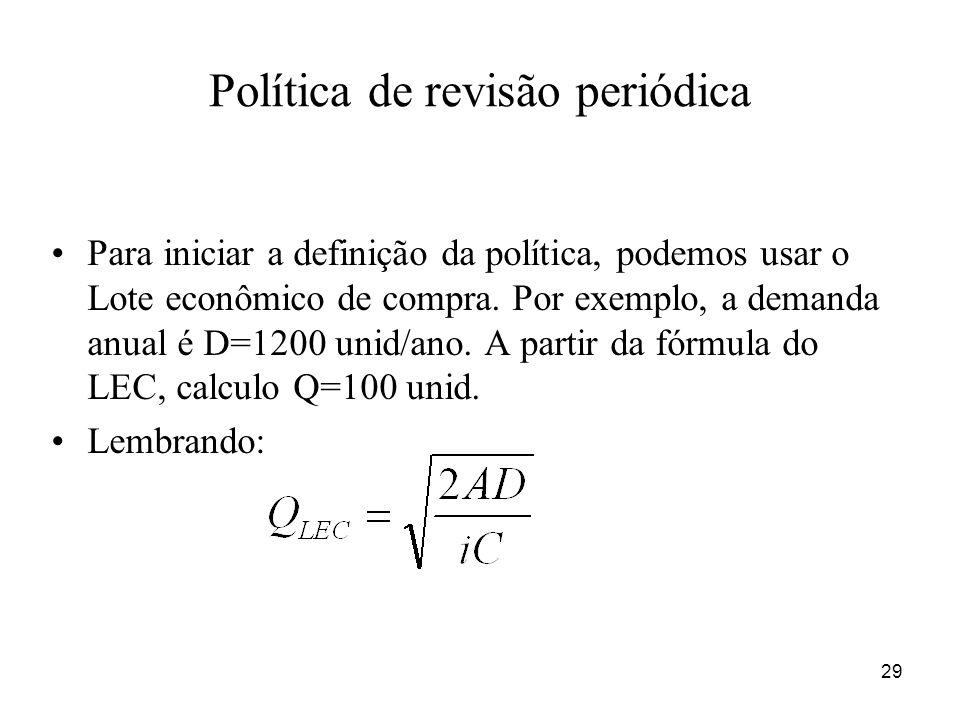 29 Política de revisão periódica Para iniciar a definição da política, podemos usar o Lote econômico de compra. Por exemplo, a demanda anual é D=1200