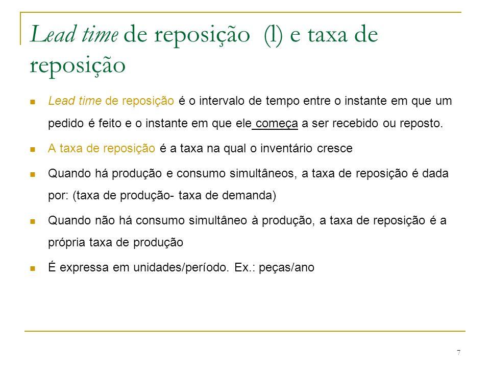 7 Lead time de reposição (l) e taxa de reposição Lead time de reposição é o intervalo de tempo entre o instante em que um pedido é feito e o instante