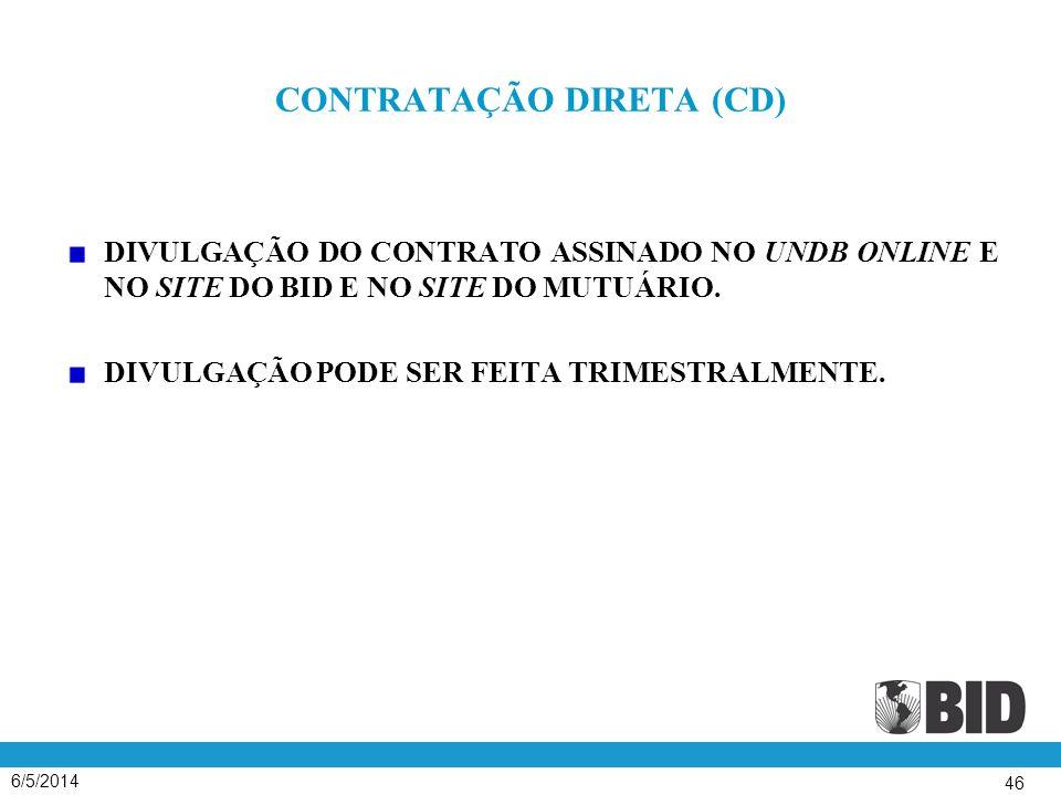 6/5/2014 46 CONTRATAÇÃO DIRETA (CD) DIVULGAÇÃO DO CONTRATO ASSINADO NO UNDB ONLINE E NO SITE DO BID E NO SITE DO MUTUÁRIO. DIVULGAÇÃO PODE SER FEITA T