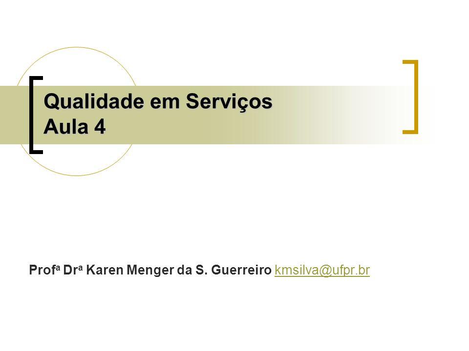 Qualidade em Serviços Aula 4 Prof a Dr a Karen Menger da S. Guerreiro kmsilva@ufpr.brkmsilva@ufpr.br