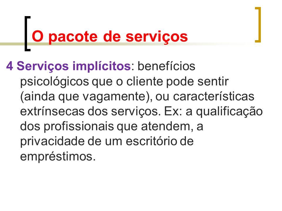 4 Serviços implícitos: benefícios psicológicos que o cliente pode sentir (ainda que vagamente), ou características extrínsecas dos serviços. Ex: a qua