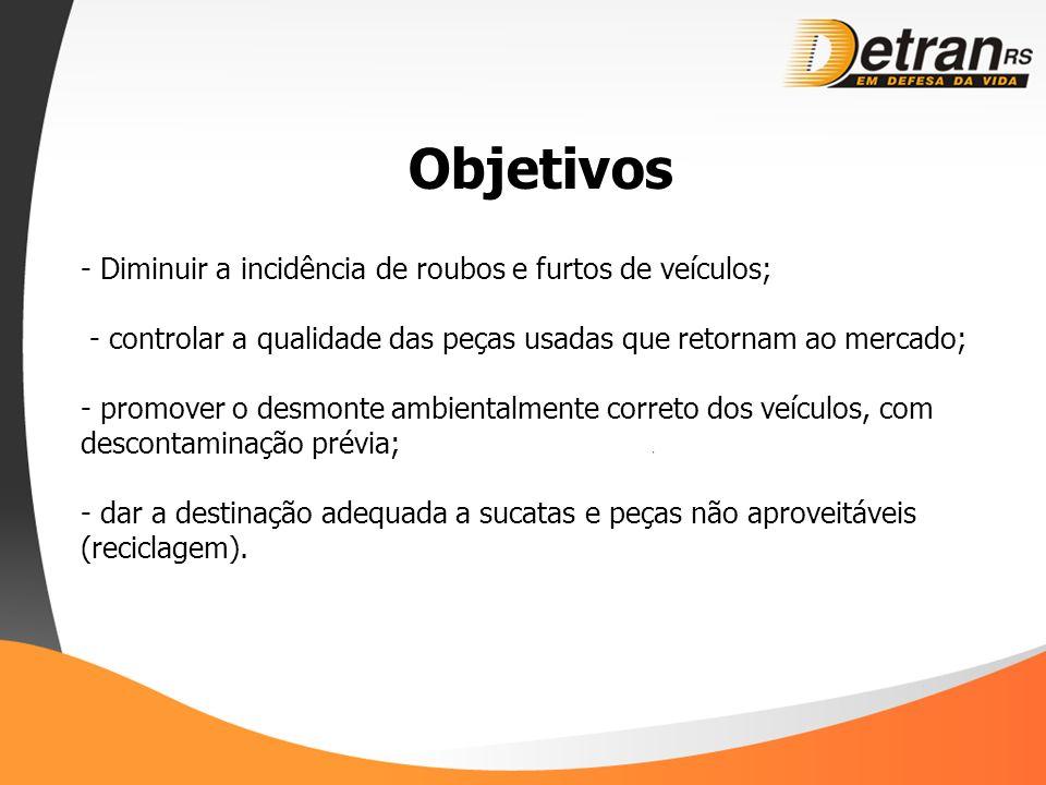 Objetivos - Diminuir a incidência de roubos e furtos de veículos; - controlar a qualidade das peças usadas que retornam ao mercado; - promover o desmo