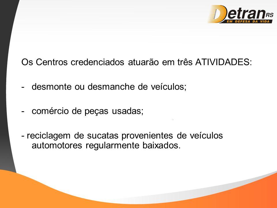 Os Centros credenciados atuarão em três ATIVIDADES: -desmonte ou desmanche de veículos; -comércio de peças usadas; - reciclagem de sucatas proveniente