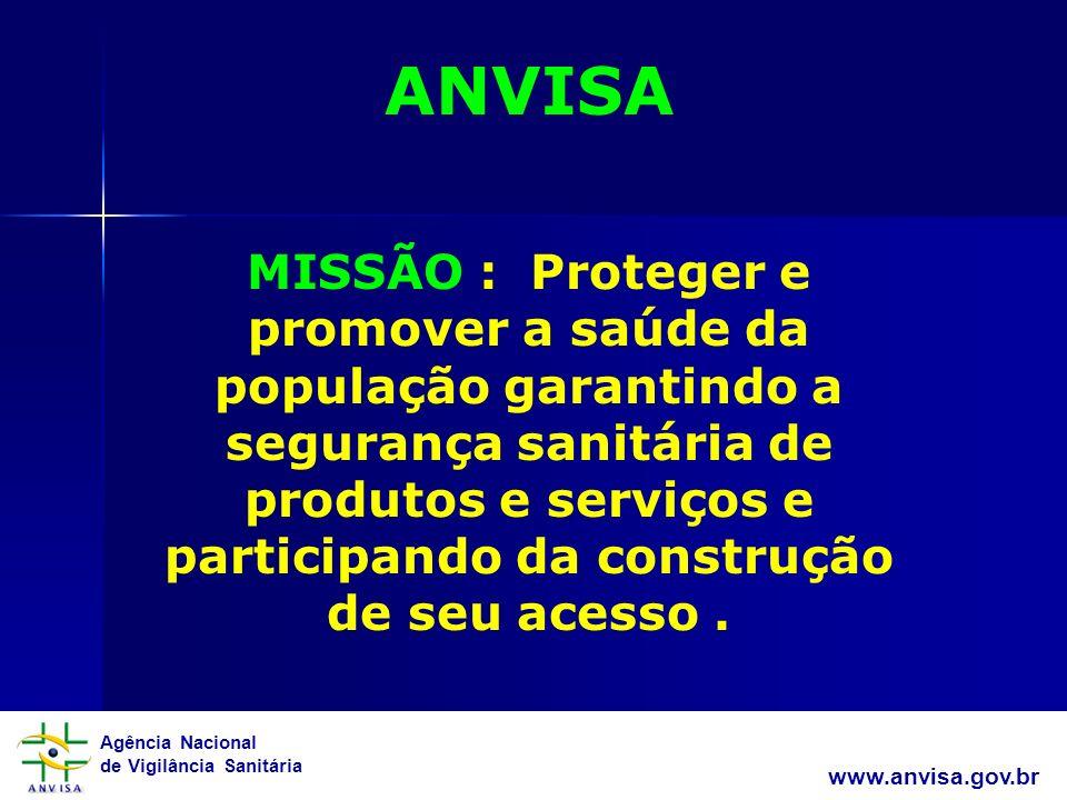 Agência Nacional de Vigilância Sanitária www.anvisa.gov.br ANVISA MISSÃO : Proteger e promover a saúde da população garantindo a segurança sanitária de produtos e serviços e participando da construção de seu acesso.
