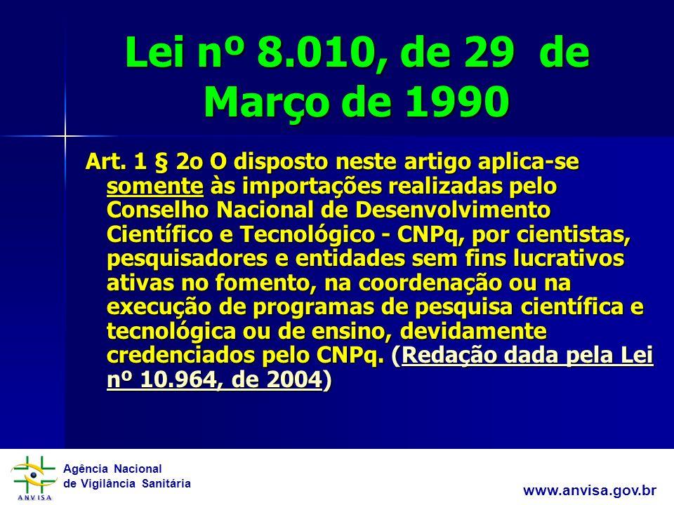 Agência Nacional de Vigilância Sanitária www.anvisa.gov.br Lei nº 8.010, de 29 de Março de 1990 Art.