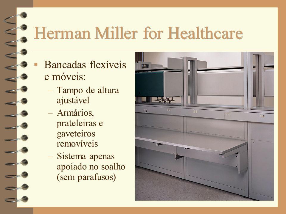 Bancadas flexíveis e móveis: –Tampo de altura ajustável –Armários, prateleiras e gaveteiros removíveis –Sistema apenas apoiado no soalho (sem parafuso