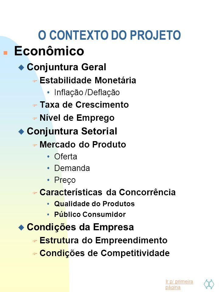 Ir p/ primeira página n Econômico u Conjuntura Geral F Estabilidade Monetária Inflação /Deflação F Taxa de Crescimento F Nível de Emprego u Conjuntura Setorial F Mercado do Produto Oferta Demanda Preço F Características da Concorrência Qualidade do Produtos Público Consumidor u Condições da Empresa F Estrutura do Empreendimento F Condições de Competitividade O CONTEXTO DO PROJETO