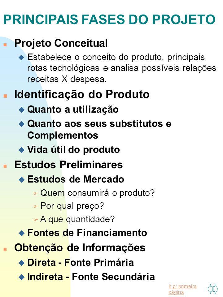 Ir p/ primeira página n Projeto Conceitual u Estabelece o conceito do produto, principais rotas tecnológicas e analisa possíveis relações receitas X despesa.