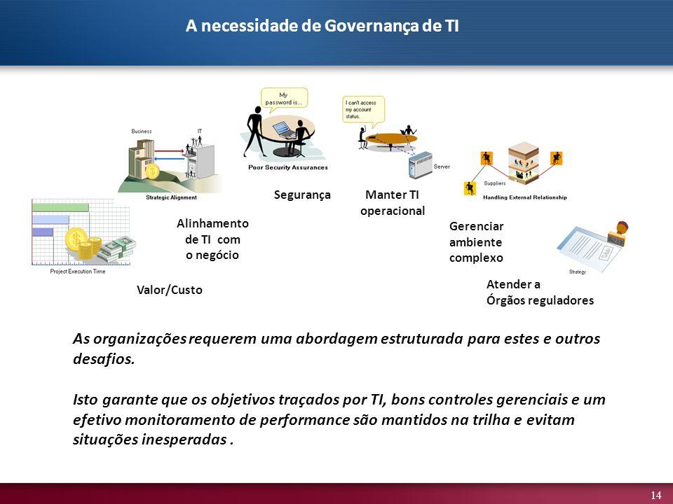 14 As organizações requerem uma abordagem estruturada para estes e outros desafios. Isto garante que os objetivos traçados por TI, bons controles gere