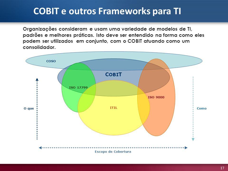17 Organizações consideram e usam uma variedade de modelos de TI, padrões e melhores práticas. Isto deve ser entendido na forma como eles podem ser ut