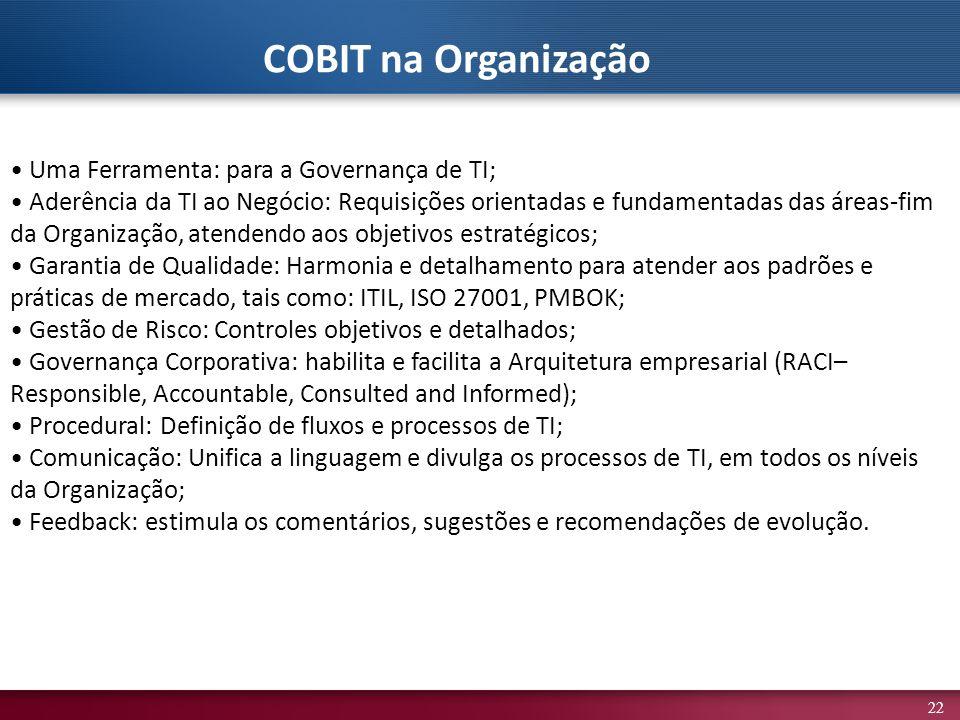 22 Uma Ferramenta: para a Governança de TI; Aderência da TI ao Negócio: Requisições orientadas e fundamentadas das áreas-fim da Organização, atendendo aos objetivos estratégicos; Garantia de Qualidade: Harmonia e detalhamento para atender aos padrões e práticas de mercado, tais como: ITIL, ISO 27001, PMBOK; Gestão de Risco: Controles objetivos e detalhados; Governança Corporativa: habilita e facilita a Arquitetura empresarial (RACI– Responsible, Accountable, Consulted and Informed); Procedural: Definição de fluxos e processos de TI; Comunicação: Unifica a linguagem e divulga os processos de TI, em todos os níveis da Organização; Feedback: estimula os comentários, sugestões e recomendações de evolução.