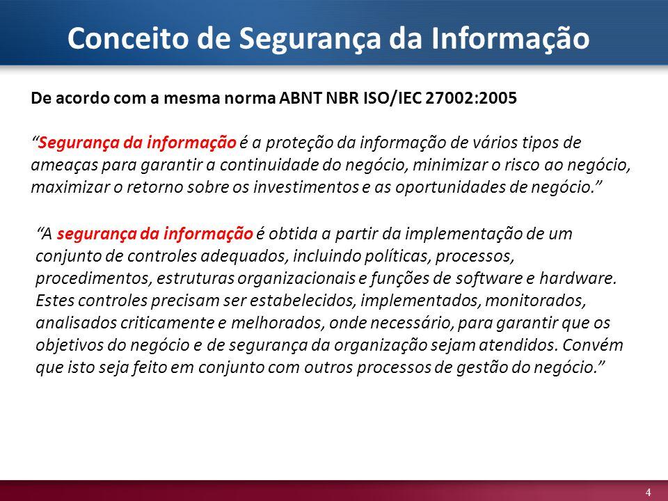 4 De acordo com a mesma norma ABNT NBR ISO/IEC 27002:2005 Segurança da informação é a proteção da informação de vários tipos de ameaças para garantir a continuidade do negócio, minimizar o risco ao negócio, maximizar o retorno sobre os investimentos e as oportunidades de negócio.