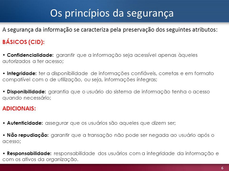 6 BÁSICOS (CID): Confidencialidade: garantir que a informação seja acessível apenas àqueles autorizados a ter acesso; Integridade: ter a disponibilida