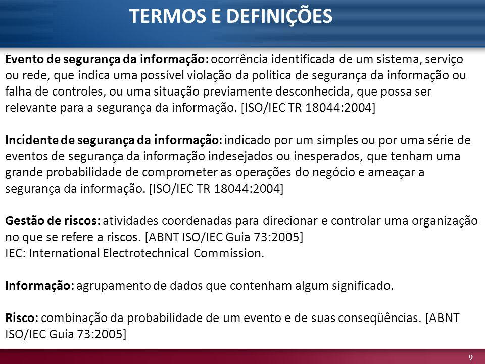 9 TERMOS E DEFINIÇÕES Evento de segurança da informação: ocorrência identificada de um sistema, serviço ou rede, que indica uma possível violação da p