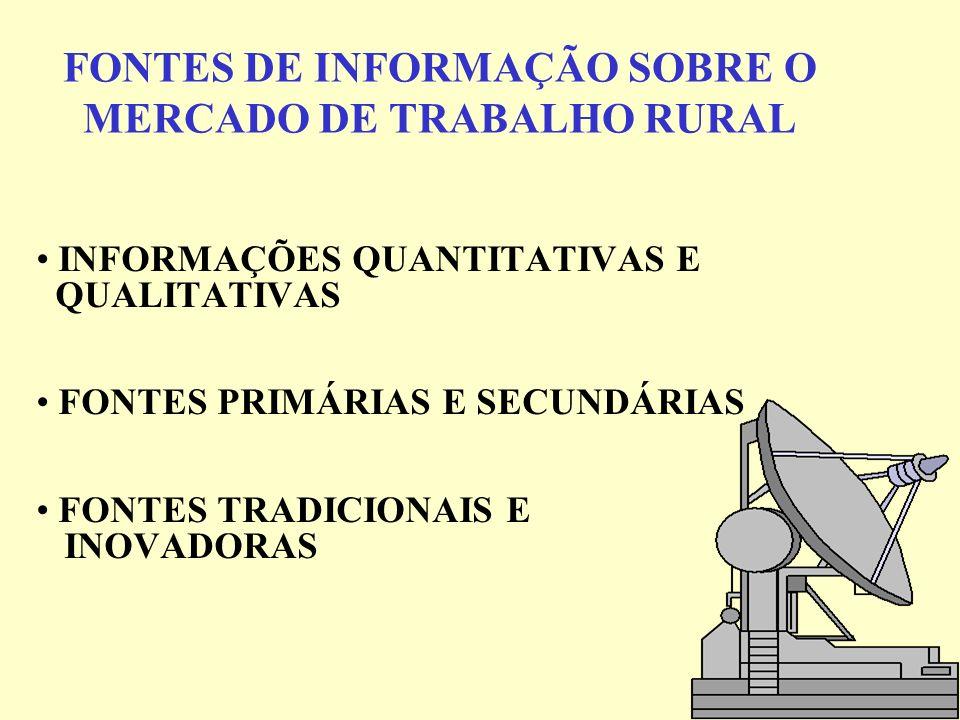 FONTES DE INFORMAÇÃO SOBRE O MERCADO DE TRABALHO RURAL INFORMAÇÕES QUANTITATIVAS E QUALITATIVAS FONTES PRIMÁRIAS E SECUNDÁRIAS FONTES TRADICIONAIS E I