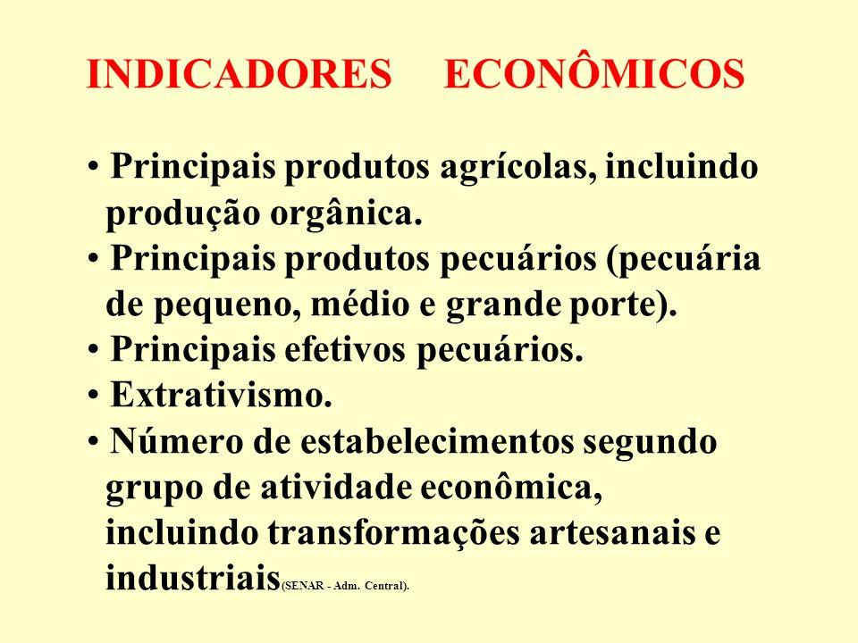 INDICADORES ECONÔMICOS Principais produtos agrícolas, incluindo produção orgânica. Principais produtos pecuários (pecuária de pequeno, médio e grande