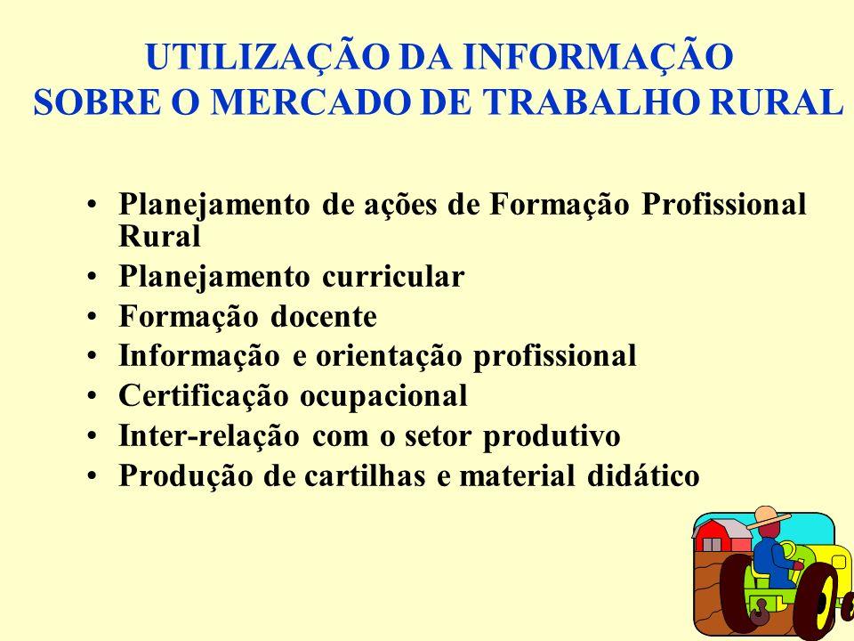 UTILIZAÇÃO DA INFORMAÇÃO SOBRE O MERCADO DE TRABALHO RURAL Planejamento de ações de Formação Profissional Rural Planejamento curricular Formação docen
