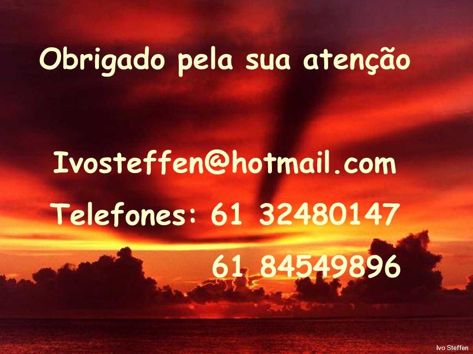 Obrigado pela sua atenção Ivosteffen@hotmail.com Telefones: 61 32480147 61 84549896 Ivo Steffen