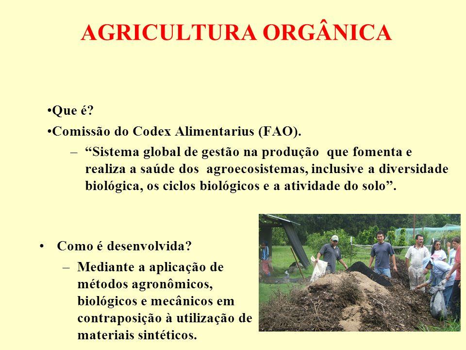 AGRICULTURA ORGÂNICA Que é? Comissão do Codex Alimentarius (FAO). –Sistema global de gestão na produção que fomenta e realiza a saúde dos agroecosiste
