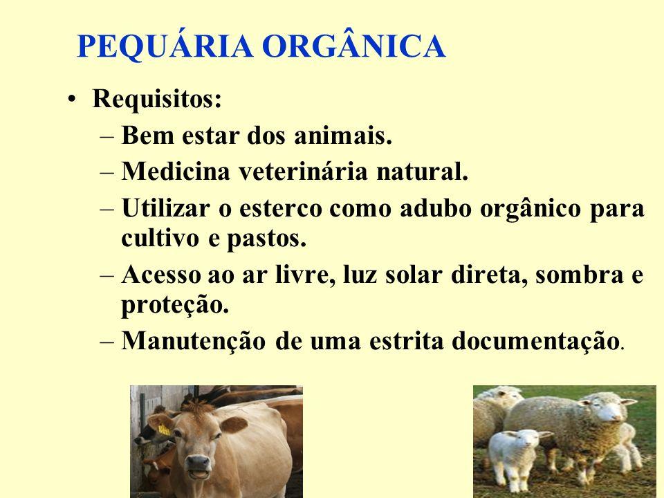 PEQUÁRIA ORGÂNICA Requisitos: –Bem estar dos animais. –Medicina veterinária natural. –Utilizar o esterco como adubo orgânico para cultivo e pastos. –A