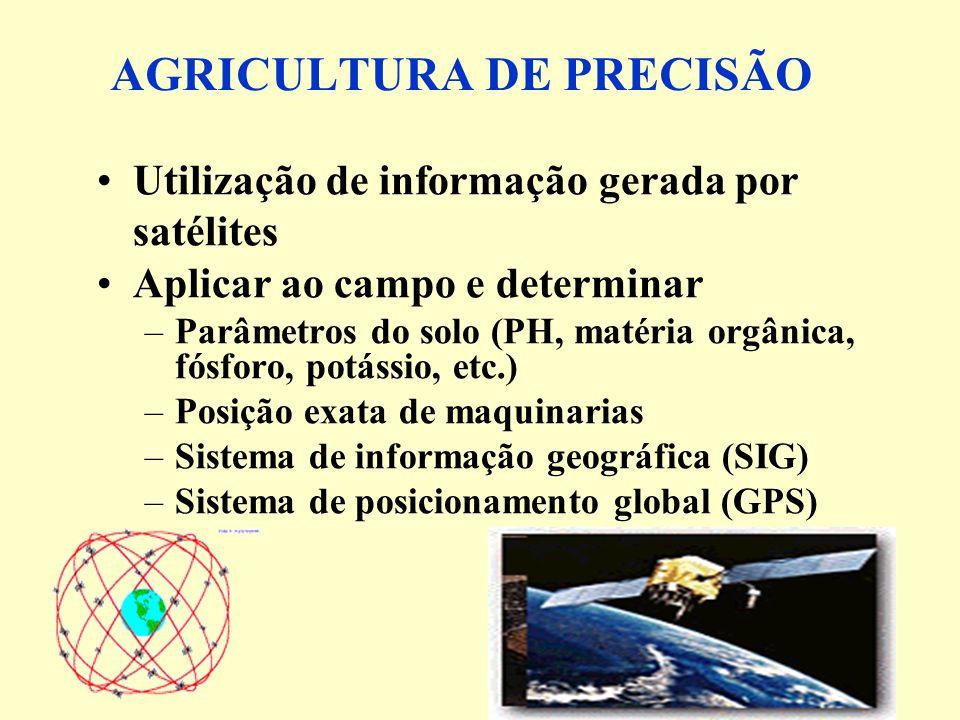 AGRICULTURA DE PRECISÃO Utilização de informação gerada por satélites Aplicar ao campo e determinar –Parâmetros do solo (PH, matéria orgânica, fósforo, potássio, etc.) –Posição exata de maquinarias –Sistema de informação geográfica (SIG) –Sistema de posicionamento global (GPS)