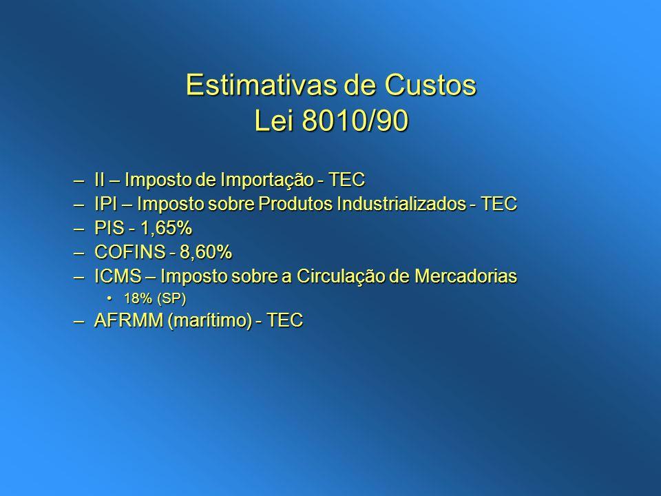 Estimativas de Custos Lei 8010/90 –II – Imposto de Importação - TEC –IPI – Imposto sobre Produtos Industrializados - TEC –PIS - 1,65% –COFINS - 8,60%