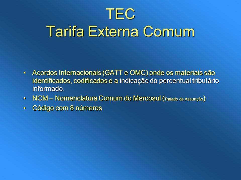 TEC Tarifa Externa Comum Acordos Internacionais (GATT e OMC) onde os materiais são identificados, codificados e a indicação do percentual tributário i