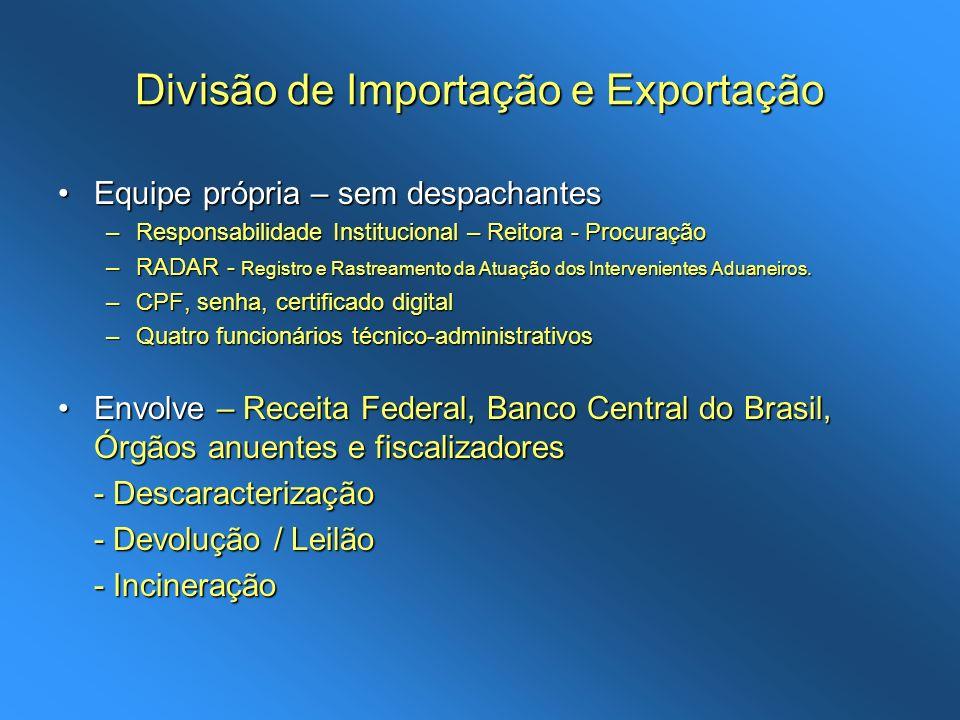 Divisão de Importação e Exportação Equipe própria – sem despachantesEquipe própria – sem despachantes –Responsabilidade Institucional – Reitora - Proc