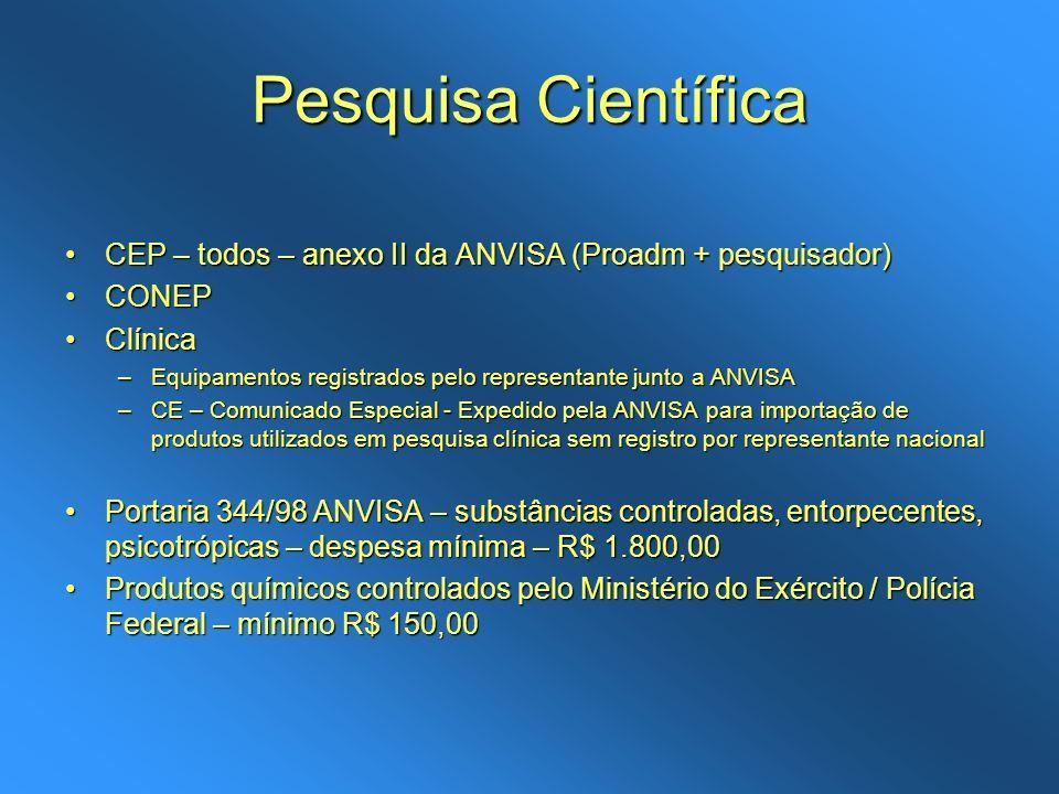 Pesquisa Científica CEP – todos – anexo II da ANVISA (Proadm + pesquisador)CEP – todos – anexo II da ANVISA (Proadm + pesquisador) CONEPCONEP ClínicaC