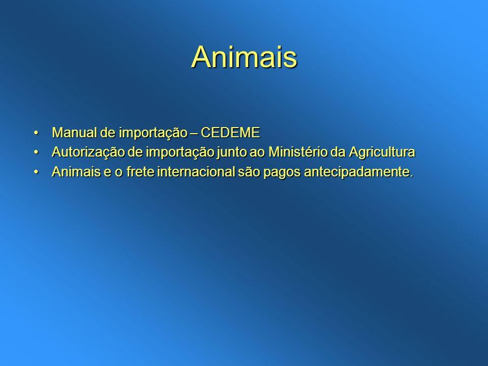 Animais Manual de importação – CEDEMEManual de importação – CEDEME Autorização de importação junto ao Ministério da AgriculturaAutorização de importaç