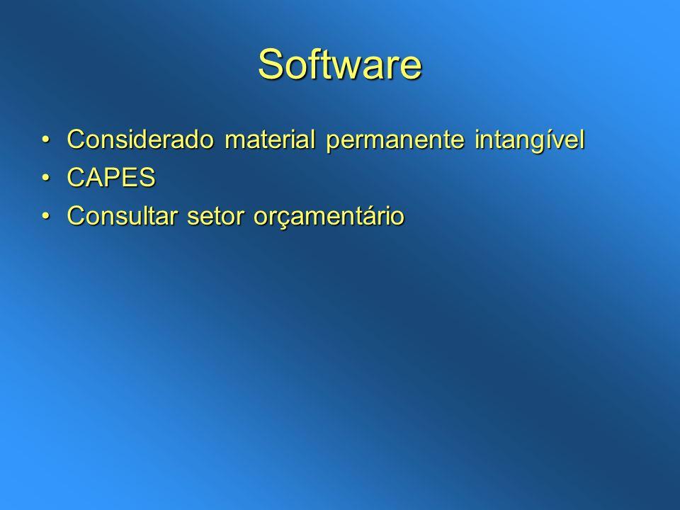 Software Considerado material permanente intangívelConsiderado material permanente intangível CAPESCAPES Consultar setor orçamentárioConsultar setor o