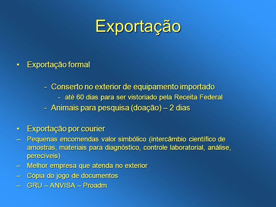 Exportação Exportação formalExportação formal -Conserto no exterior de equipamento importado -até 60 dias para ser vistoriado pela Receita Federal -An