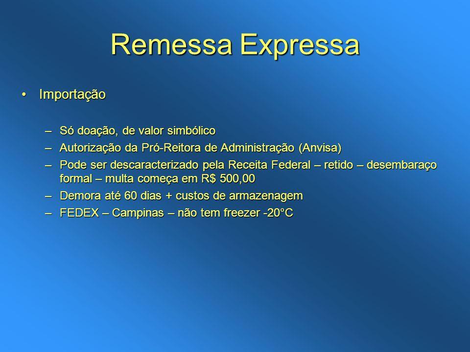 Remessa Expressa ImportaçãoImportação –Só doação, de valor simbólico –Autorização da Pró-Reitora de Administração (Anvisa) –Pode ser descaracterizado