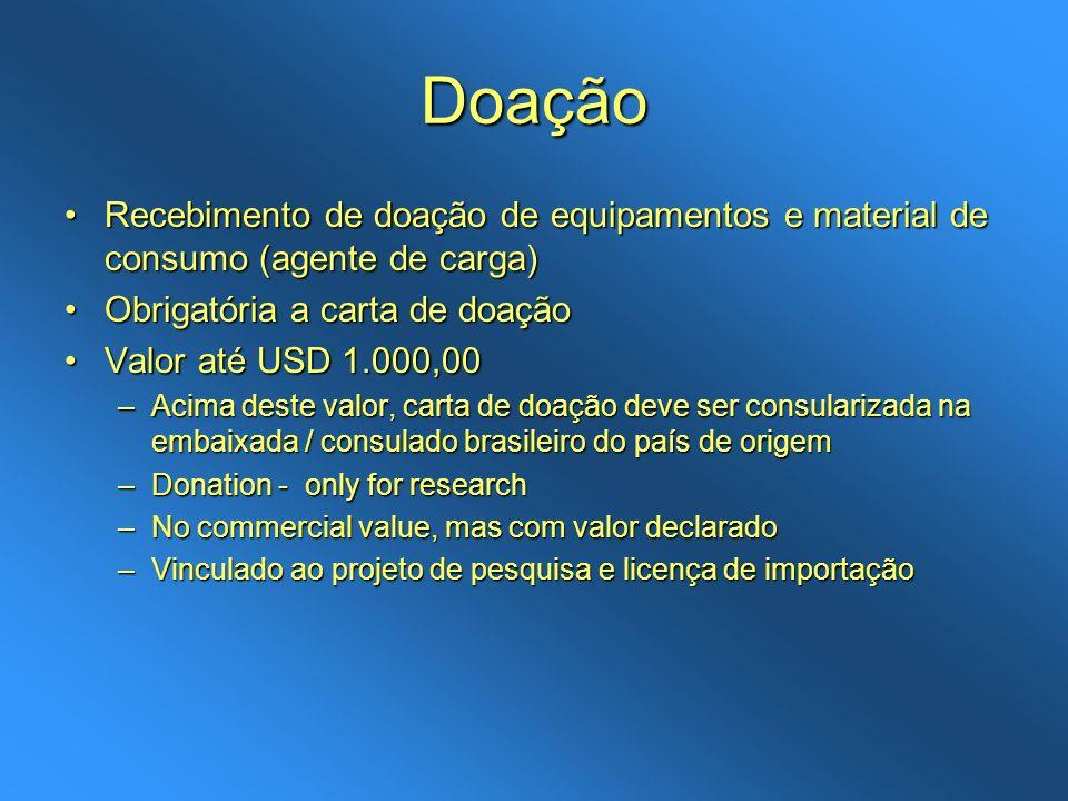 Doação Recebimento de doação de equipamentos e material de consumo (agente de carga)Recebimento de doação de equipamentos e material de consumo (agent