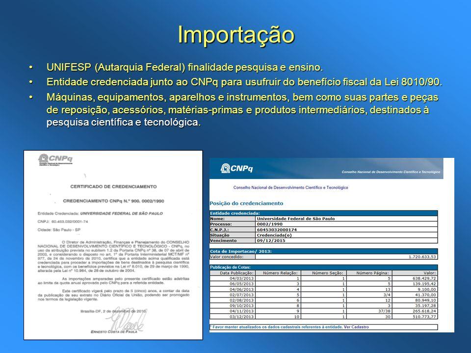 Importação UNIFESP (Autarquia Federal) finalidade pesquisa e ensino.UNIFESP (Autarquia Federal) finalidade pesquisa e ensino. Entidade credenciada jun